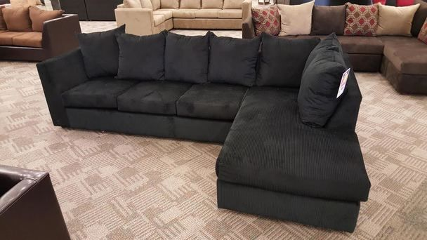 2pc Sectional In Black Corduroy Brown Couch Living Room Paint
