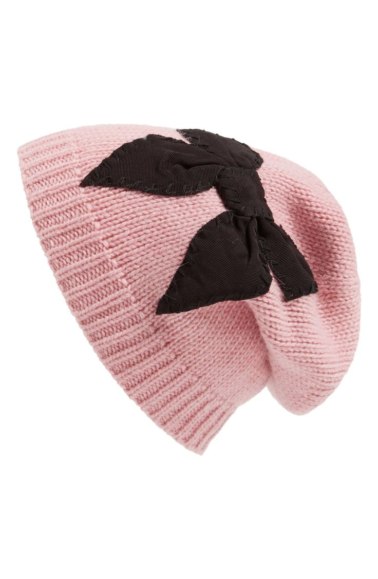 Want one in every color! Love this slouchy Kate Spade bow beanie.