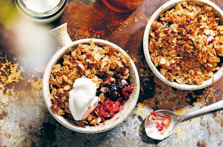 This warm nourishing crumble is like eating dessert for breakfast. Enjoy it with a nice cup of chai.   Serves: 2   Prep Time: 25 minutes, including cooking   Ingredients: 2 cups mixed berries, fresh or frozen 1 teaspoon ground cinnamon Greek-style yoghurt or coyo, to serve CRUMBLE: 3 tablespoons organic or gluten-free oats 1 …