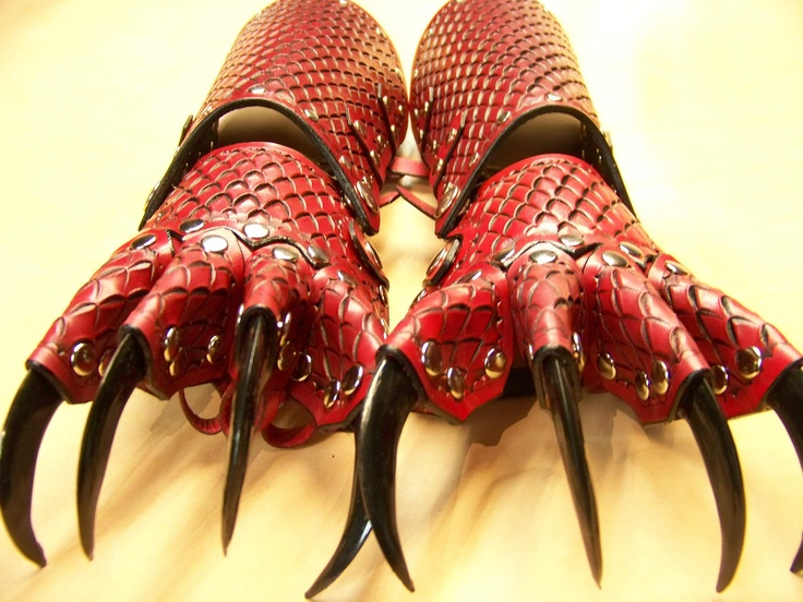 Red & Black Leather Dragon Clawed Gloves Gauntlets