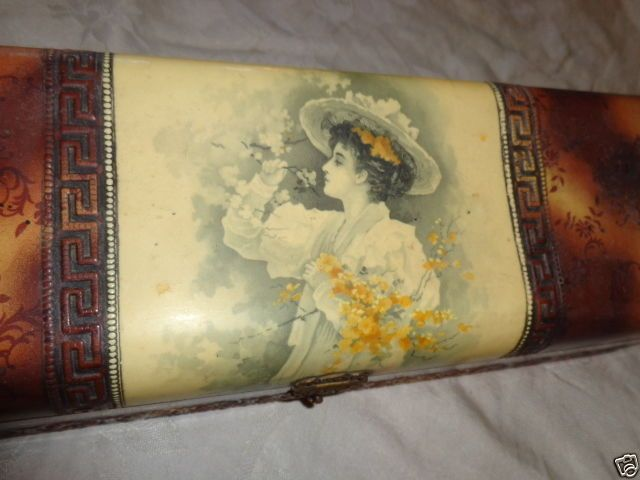 Antique Victorian Lady Garden Picking Flowers Apple Blossom Celluloid Glove Box | eBay