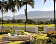 SOUTH AFRICA - The Manor House terrace, Grande Roche Hotel, Paarl. In the heart of the Cape Winelands.