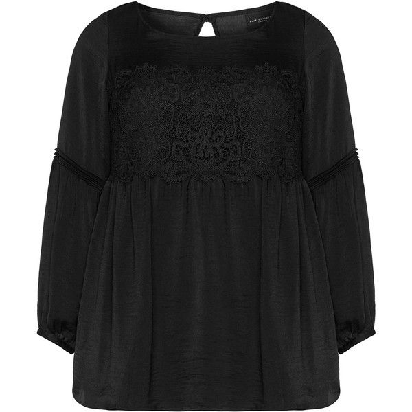 Live Unlimited London Black Plus Size Lace accent smock top ($40) ❤ liked on Polyvore featuring plus size women's fashion, plus size clothing, plus size tops, black, plus size, smock top, plus size lace tops, drape top, long sleeve lace top and lace detail top