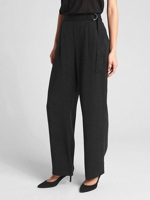 b0018e83e72 Gap Womens High Rise Belted Wide-Leg Pants In Tencel™ True Black