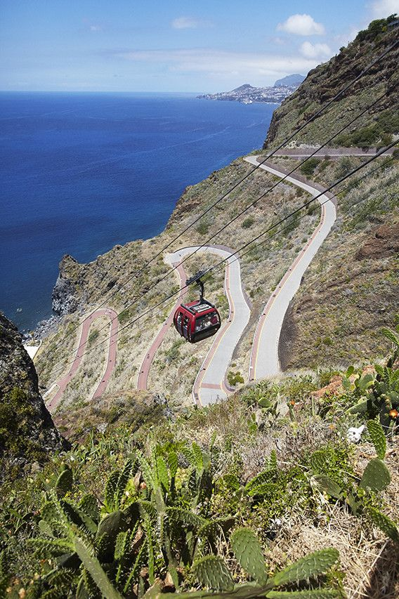 A cable car connects the main road to the beach at Ponta do Garajau, east of Funchal. Madeira, Portugal - wsj
