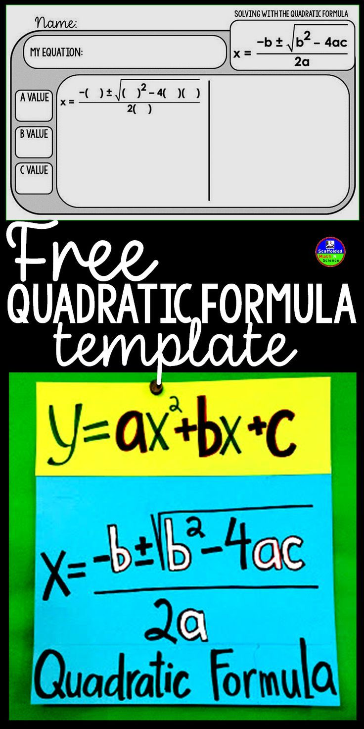 """This is the template I created this year after becoming obsessed with warm up templates. I always emphasize writing down a, b and c because of how it cuts down on errors. The structure of the formula also gives my students trouble, so the """"skeleton"""" formula has been helpful, especially in the first days of learning the formula. Warm up templates have been a real game-changer in my classes. They give my students the repetition they need to be independent and also free up so much of my p"""