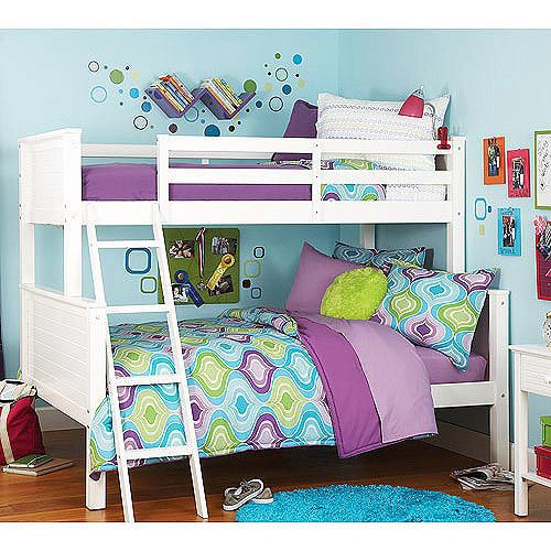 "twin over full bed bunked (attached) Height from bed of the lower bunk to the top bunk: 47.5""  Dimensions: 58""W x 79.5""L x 63""H / 69.5""W with ladde"