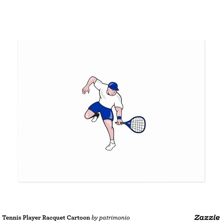 Tennis Player Racquet Cartoon Postcard. Illustration of a tennis player holding racquet viewed from front on isolated background done in cartoon style. #tennis #olympics #sports #summergames #rio2016 #olympics2016