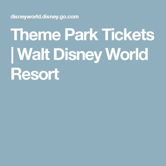 Theme Park Tickets   Walt Disney World Resort