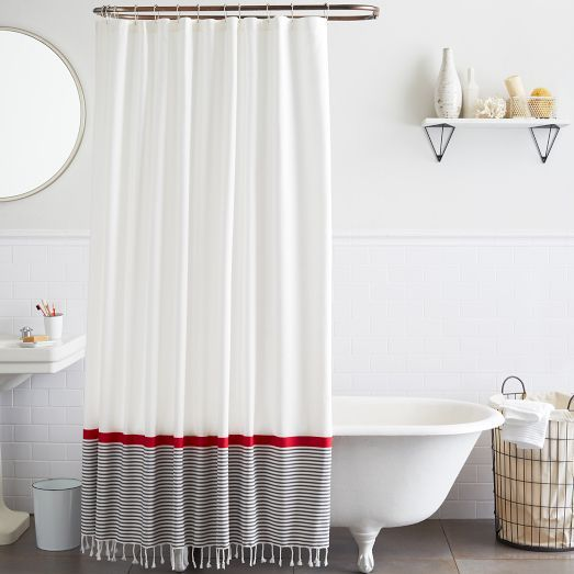 Inspired by our best-selling hand towels, the Stripe Border Shower Curtain is woven in pure yarn-dyed cotton. The tasseled ends add an exotic accent in the bathroom.