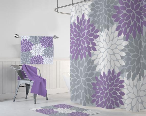Purple Gray Flower Shower Curtain Lavender Gray Bathroom Decor