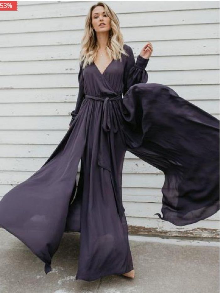 a6edc81a762 V-neck Long Sleeves Belted Maxi Dress in 2019