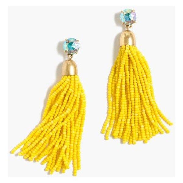 J.Crew Beaded Tassel Earrings ($86) ❤ liked on Polyvore featuring jewelry, earrings, tassle earrings, beaded jewelry, tassel earrings, j crew jewelry and beading jewelry