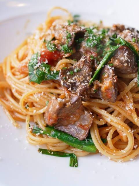 江別イタリアン『ダイニング 木の家』 「鶏レバーとニラのトマトスパゲティ」