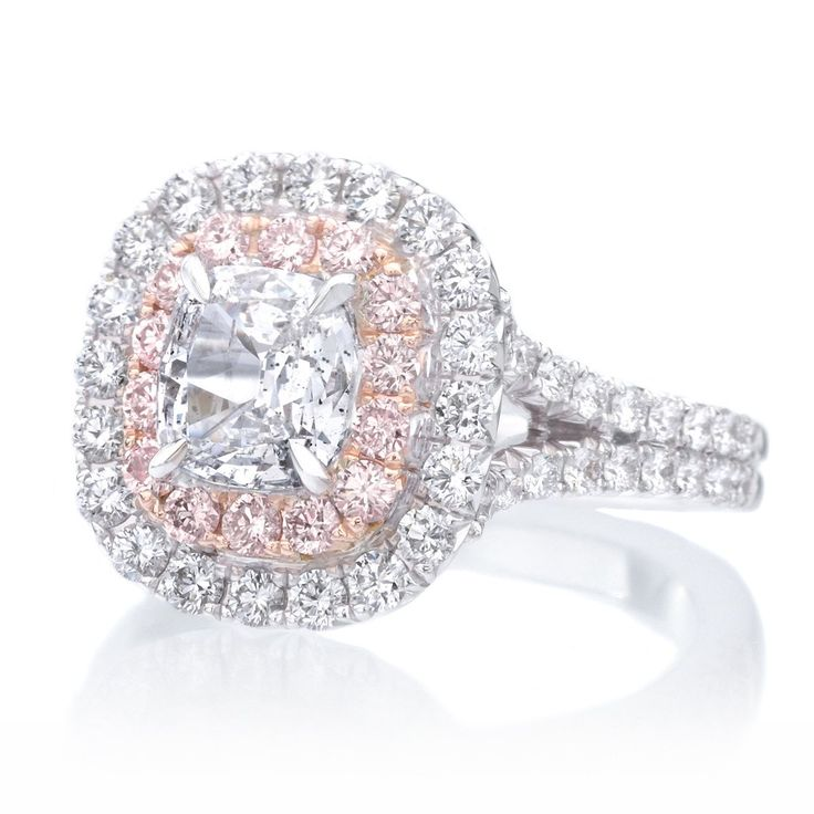 18K White Gold Double White & Pink Diamond Halo Engagement Ring