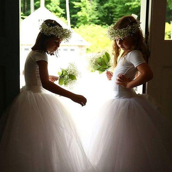 Meisjes lange tutu Tule rok. Bloemenmeisje door TutusChicOriginals