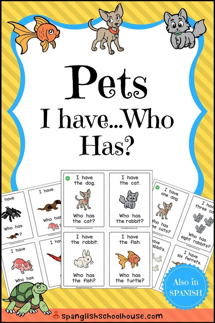 I Have, Who Has {Pets Theme} Spanish lessons for kids