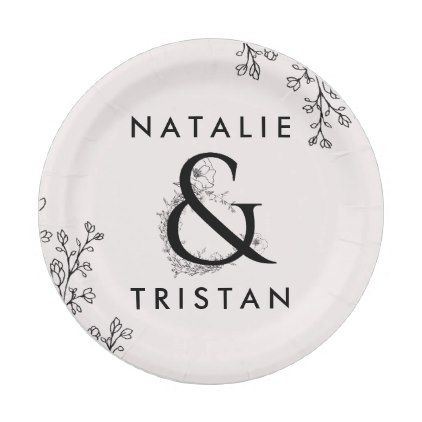 Floral Ampersand Wedding Cake Paper Plate - romantic wedding gifts wedding anniversary marriage party