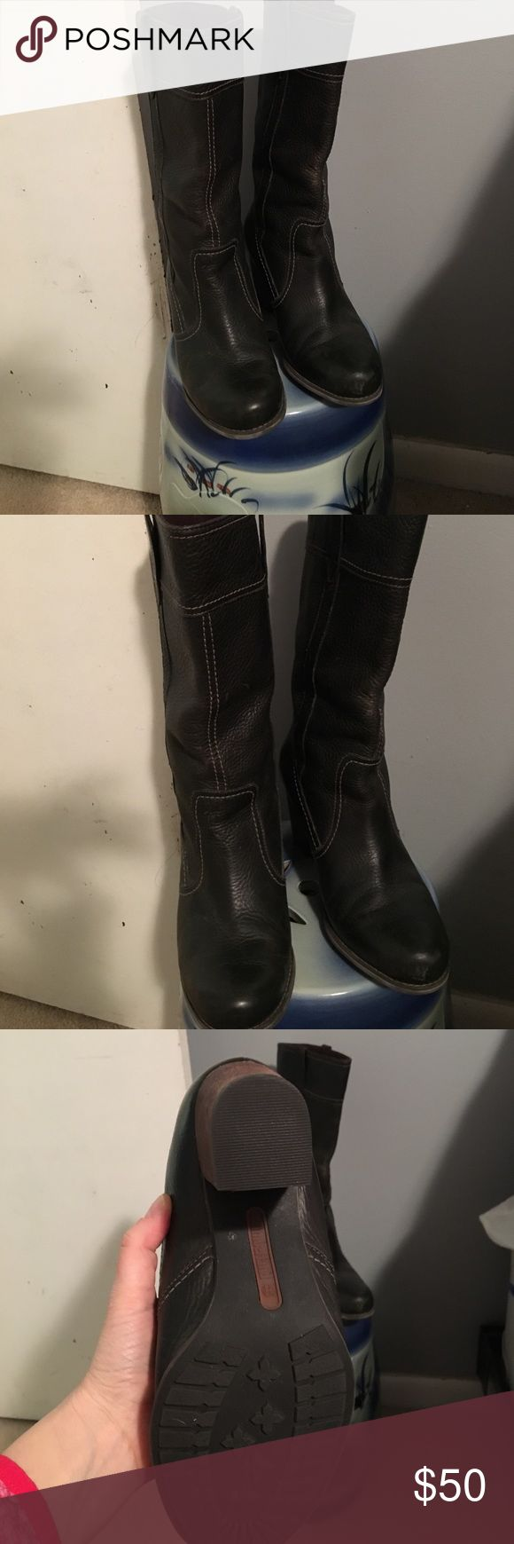 Timberland waterproof boots Olive green Timberland boots, size 10, hardly worn. Leather, lined, and Waterproof. Approx. 3-inch heel. These boots are designed to be warm, waterproof, they are lined with a quilted material. Timberland Shoes Heeled Boots