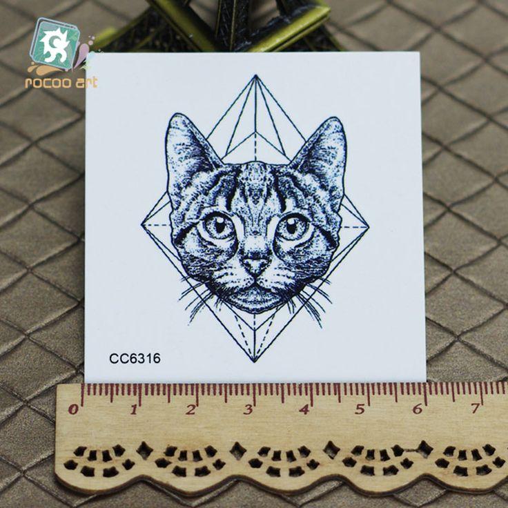6X6cm Little Vintage Old School Style Kidded Cat Head Temporary Tattoo Sticker Body Art Water Transfer Fake Taty