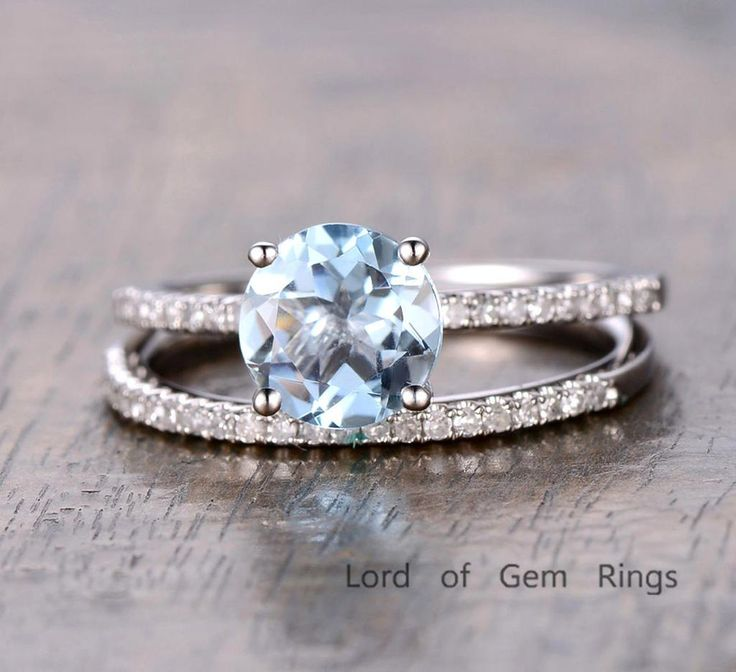 $559 Round Aquamarine Engagement Ring Sets Pave Diamond  Wedding 14K White Gold 7mm
