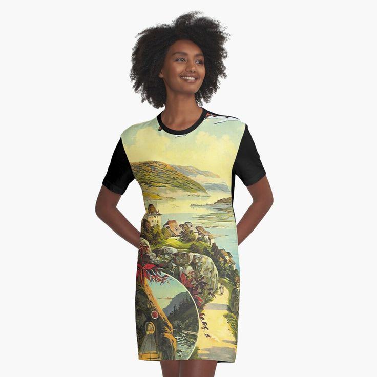 jura switzerland vintage train travel print graphic t shirt dress