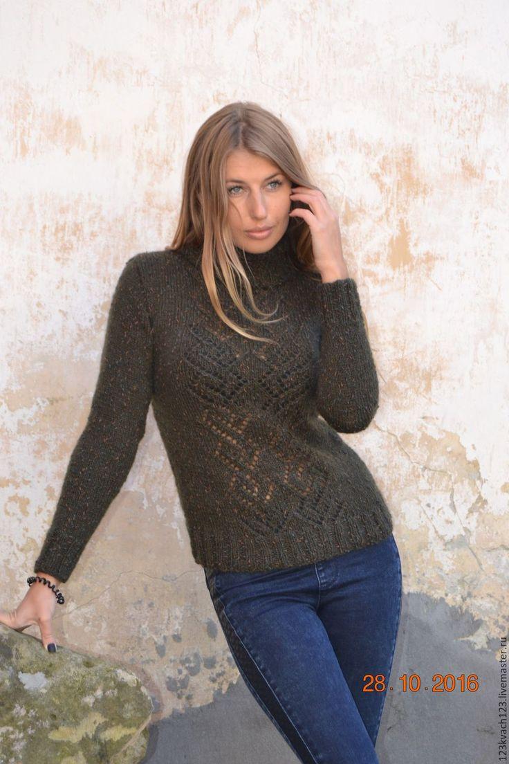 Купить Твид - тёмно-зелёный, свитер, свитер вязаный, свитер женский, свитер спицами