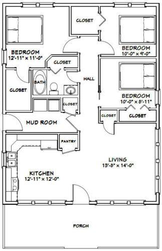 28x36 House 3 Bedroom 1 Bath 1 008 Sq Ft Pdf Floor Plan