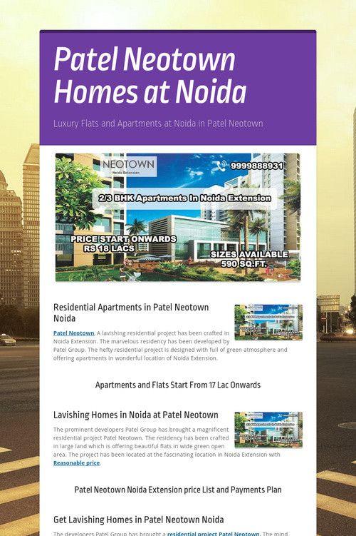 Patel  Neotown  Homes  at  Noida