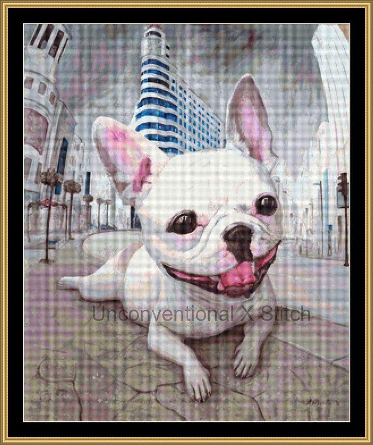 French Bulldog in Madrid cross stitch pattern Borda Danut Adrian by UnconventionalX on Etsy