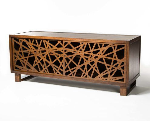 Contemporary credenza, sideboard with Palomar Laser Cut Doors.