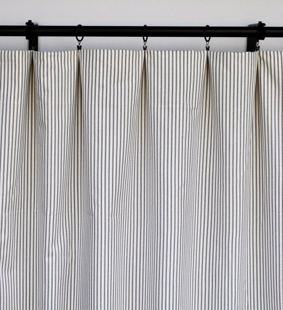 Magnolia Curtains Striped Pin Striped Charcoal Curtain 2