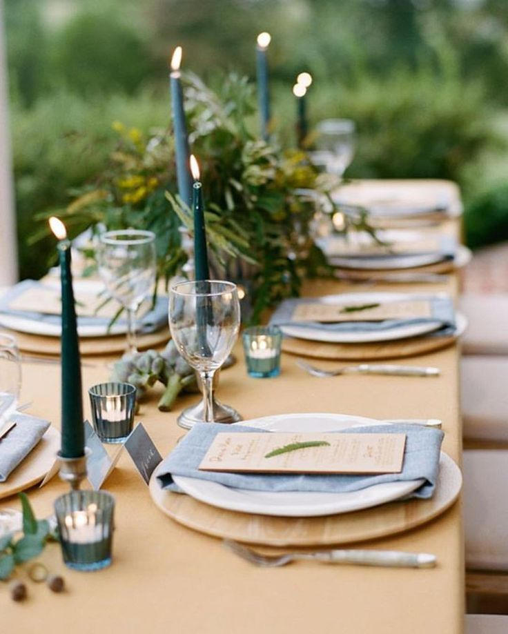 Green candles- love this natural setting