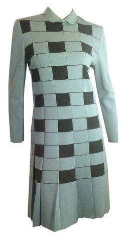Sky Blue and Heathered Grey Italian Knit Wool Dropped Waist Dress circ - Dorothea's Closet Vintage