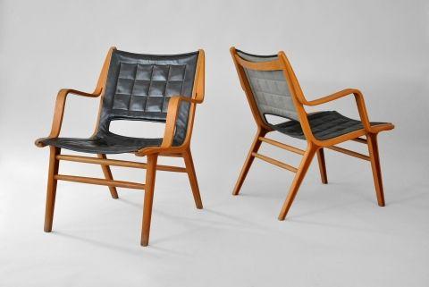AX chair Designer: Peter Hvidt & Orla Mølgaard Nielsen Manufacturer: Fritz Hansen Country: Denmark Year: 1947 Material: Beech, mahogany, leather Size: W61/D65/H78