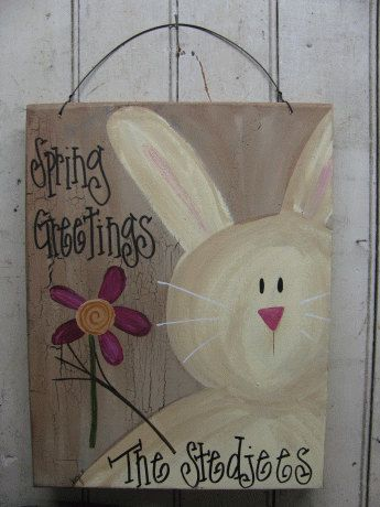 Personalized Primitive Country Bunny Hand by GainersCreekCrafts, $19.99 on Etsy. easterbunny primitive