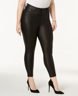 Celebrity Pink Plus Size Faux-Leather Skinny Jeans - Black 24W