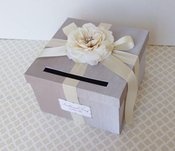 Matrimonio scatola argento avorio soldi portacarte personalizzare in qualsiasi colore e combinazione