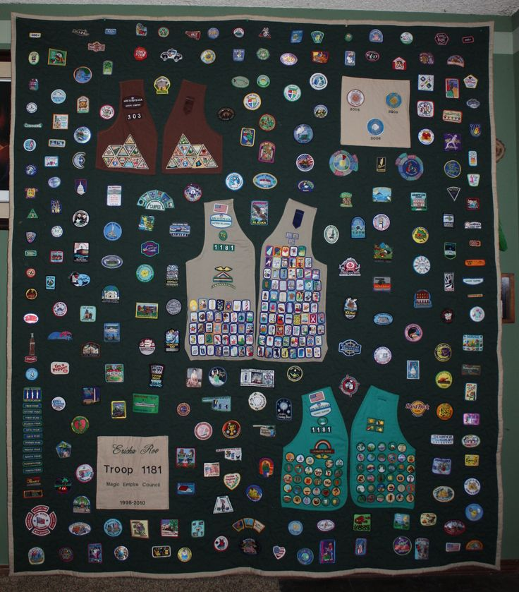 How to preserve 12 years of Girl Scout memories  I had the quilt made then cut the backs of the vests  Sewed on vests with badges in place  Then sewed on all the patches she had earned or received on trips  awards  etc   The Pins we put in a shadow box