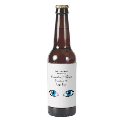Facial parts - Bright Blue Eyes Beer Bottle Label - thank you gifts ideas diy thankyou