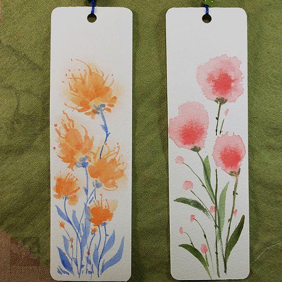 Flowers in Summer Garden 5# Original Drawing bookmarks, watercolor, handmade double tassel, package of 2, Artist Kai Liu