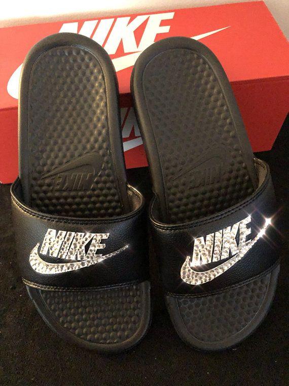 9cc6c6fdc25ba7 Women s Nike Benassi Slide Sandals- Bling Nike Slides- Bling Nike Slide  Shoes- Custom Nike Slides- Swarovski Crystal Nike Slides