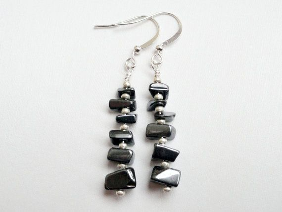 Hematite earrings  sterling silver  chip by handmadeintoronto, $19.00