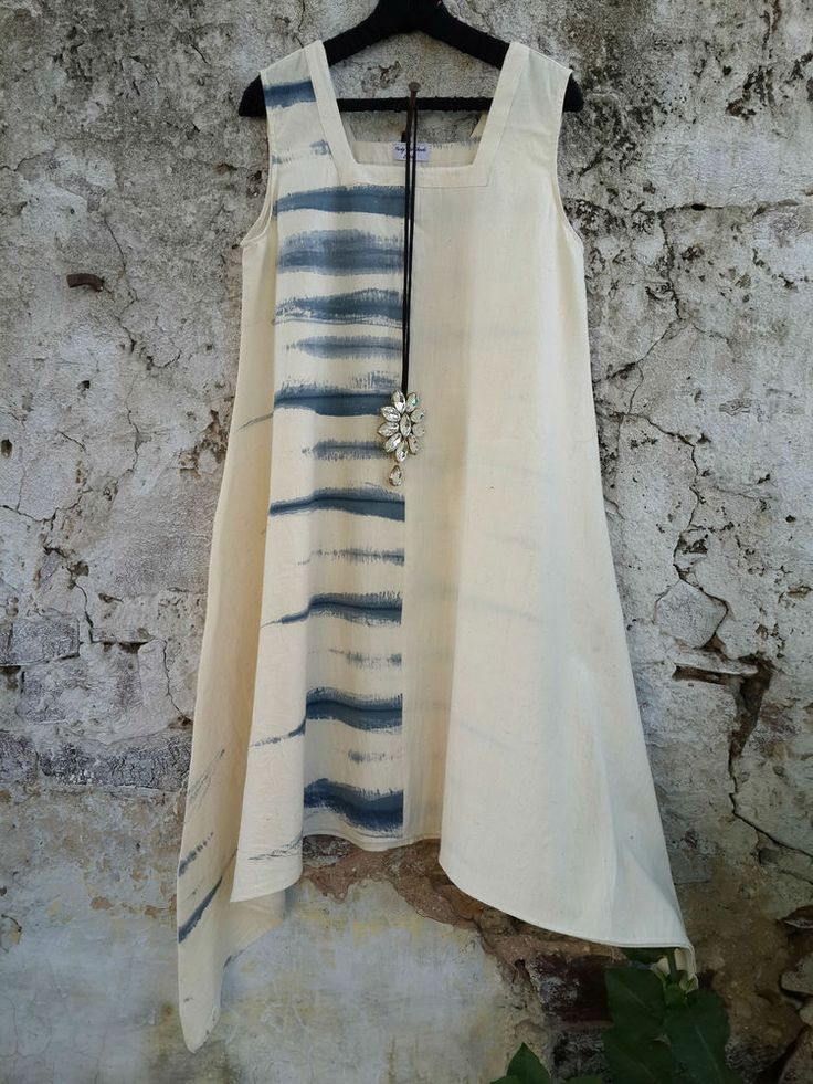 Name: Half Stripe Dress Code: TOCC 131 Materials: handloom khadi cotton Hand paint