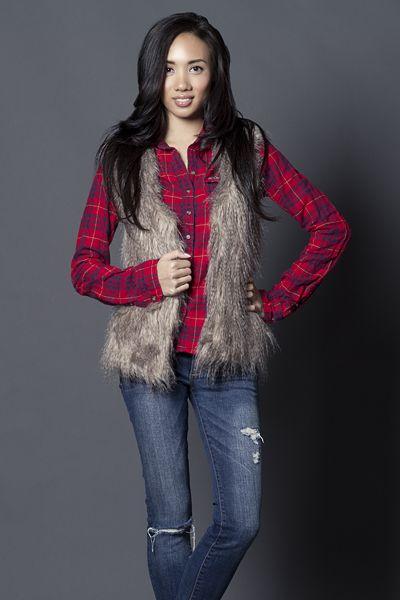 Layers Fur vest Flannel