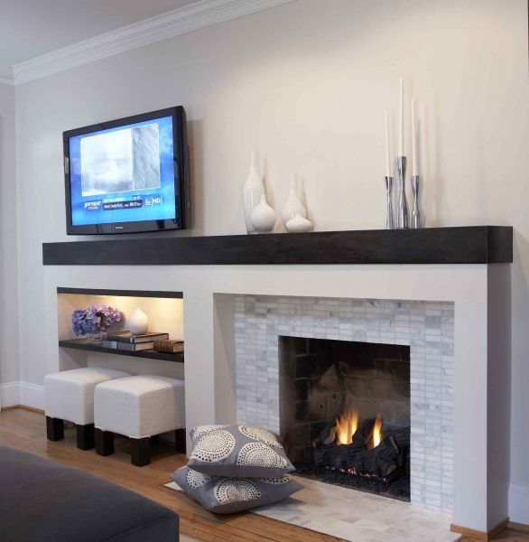 GREAT way to balance the TV and fireplace on wall, while also adding a little storage + additional seating.