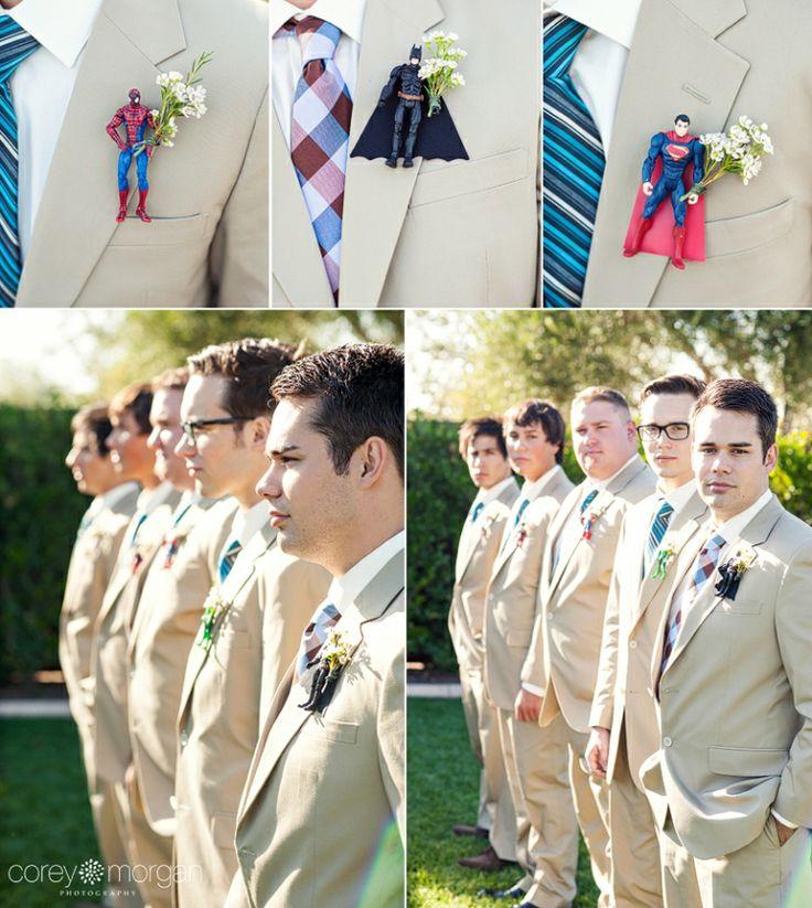 batman boutonniere // Superhero wedding details // Corey Morgan Photography