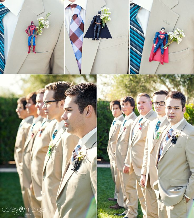 batman boutonniere // Superhero wedding details // Corey Morgan Photography  THIS! THIS! THIS! I want it like this!