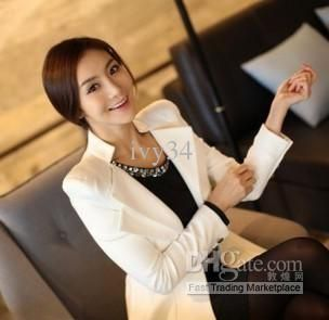 Wholesale 2013 Newly Women Casual Black White Suit Coat Spring and autumn OL Coats lady outwear M L XL woman outwear, Free shipping, $21.8-35.4/Piece | DHgate