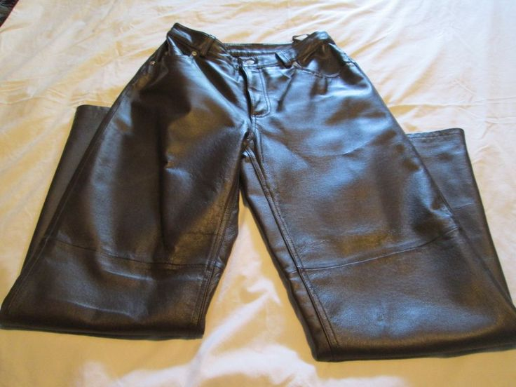 Newport News Pants Jeanology Collection Genuine Brown Leather  Sz 6P Motorcycle #NewportNews #Leather